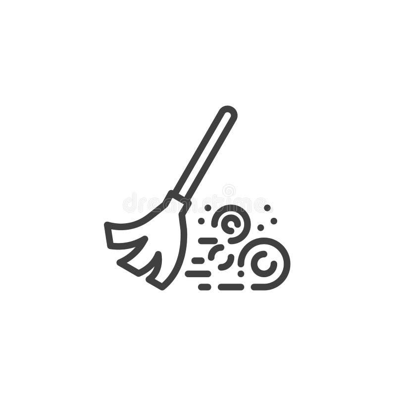 Подметая линия значок веника бесплатная иллюстрация