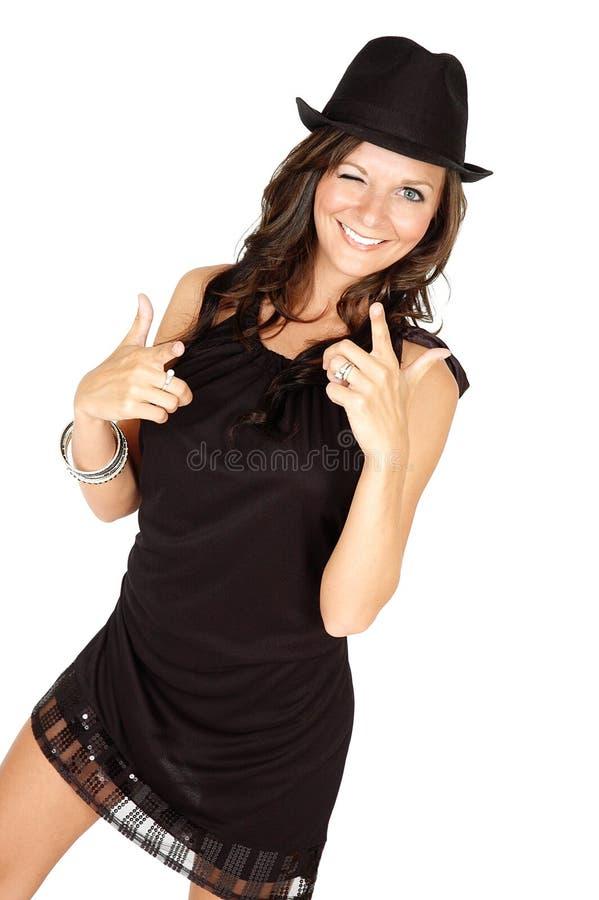подмигивать женщине стоковые изображения rf