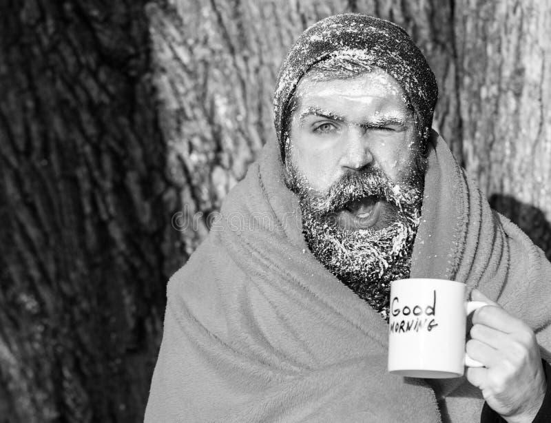 Подмигивающ замороженному человеку, бородатому хипстеру, с бородой и усиком предусматриванными с белым заморозком в оболочке в ор стоковое фото rf