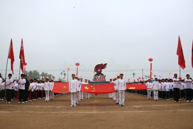 поднимать флага церемонии стоковая фотография