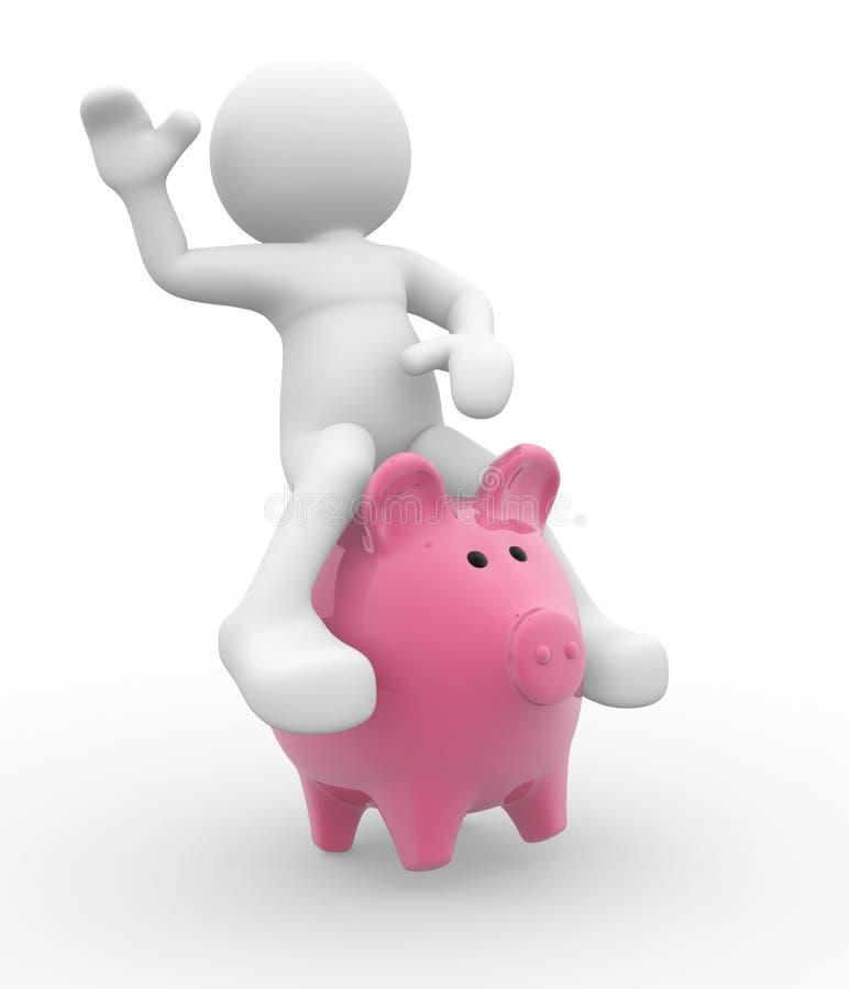 поднимающее вверх банка piggy иллюстрация штока