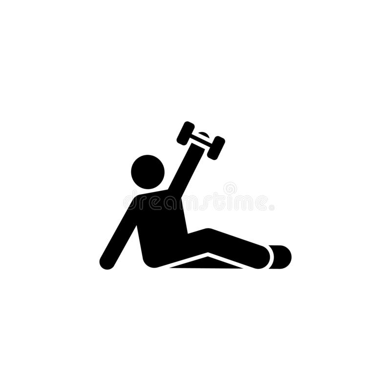 Поднимающся, человек, спортзал, спорт, значок фитнеса Элемент пиктограммы спортзала r r иллюстрация вектора