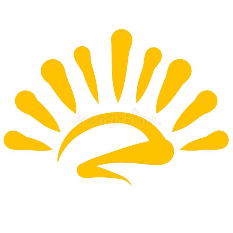 Поднимающ или устанавливающ желтое сияющее солнце, картину иллюстрация штока