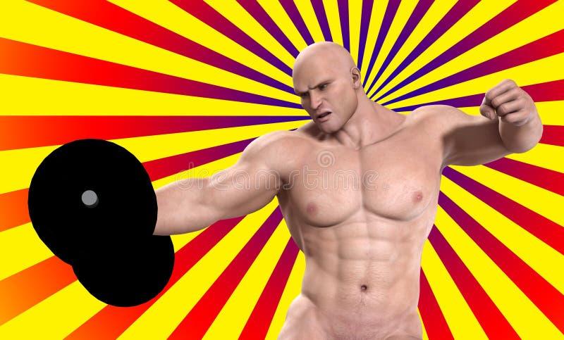 поднимаясь вес человека сильный иллюстрация вектора