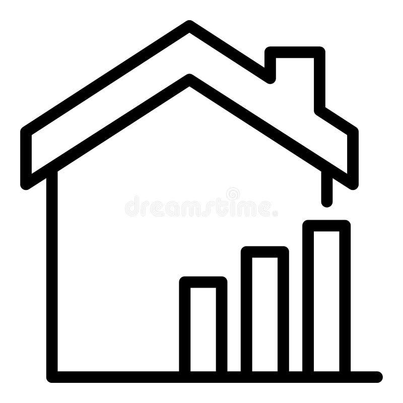 Поднимая значок цен недвижимости, стиль плана иллюстрация штока
