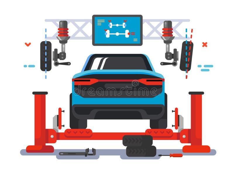 Поднимите автомобиль на автоматическом обслуживании иллюстрация вектора