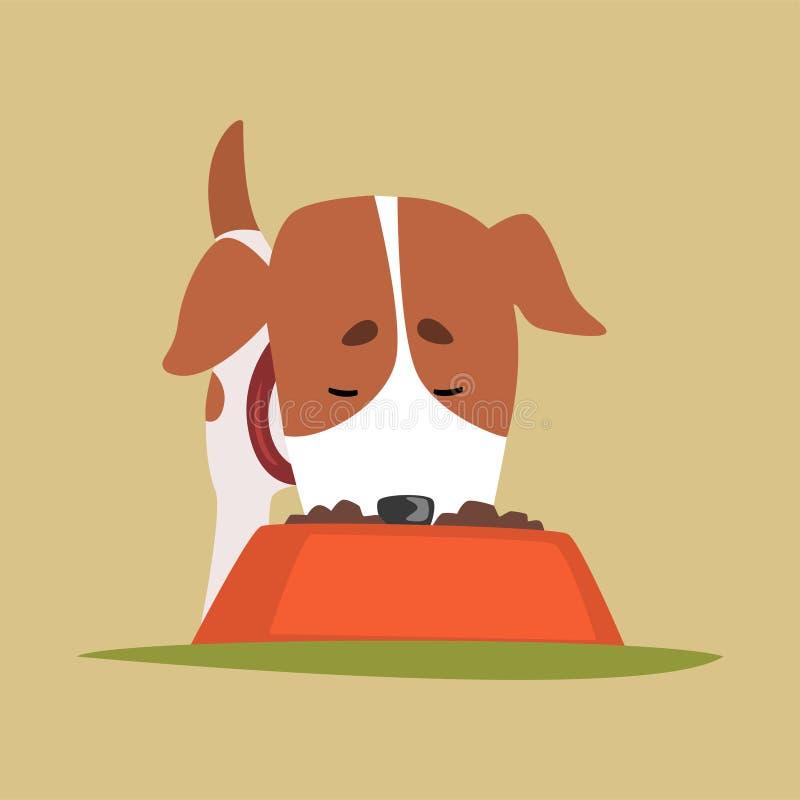 Поднимите характер домкратом щенка Рассела есть собачью еду, милую смешную иллюстрацию вектора терьера иллюстрация штока