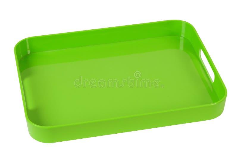 поднос изолированный зеленым цветом стоковая фотография rf