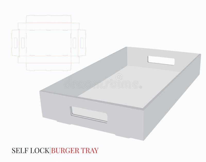 Поднос картона с шаблоном ручек Вектор с отрезком плашки/лазером отрезал слои Белый, пустой, пробел, изолированный рифленый бурге иллюстрация вектора