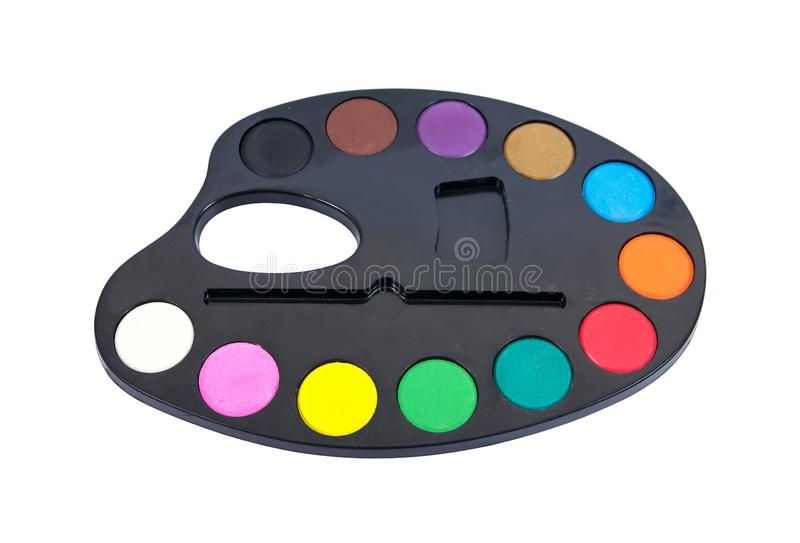 Поднос краски изолированный на белой предпосылке Поднос краски акварели изолировал Изолированная краска акварели стоковая фотография rf