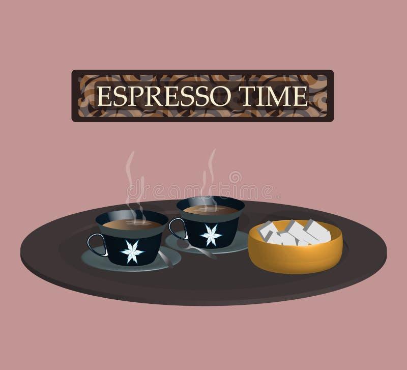 Поднос при чашки содержа кофе эспрессо Романтичные цвета стоковая фотография