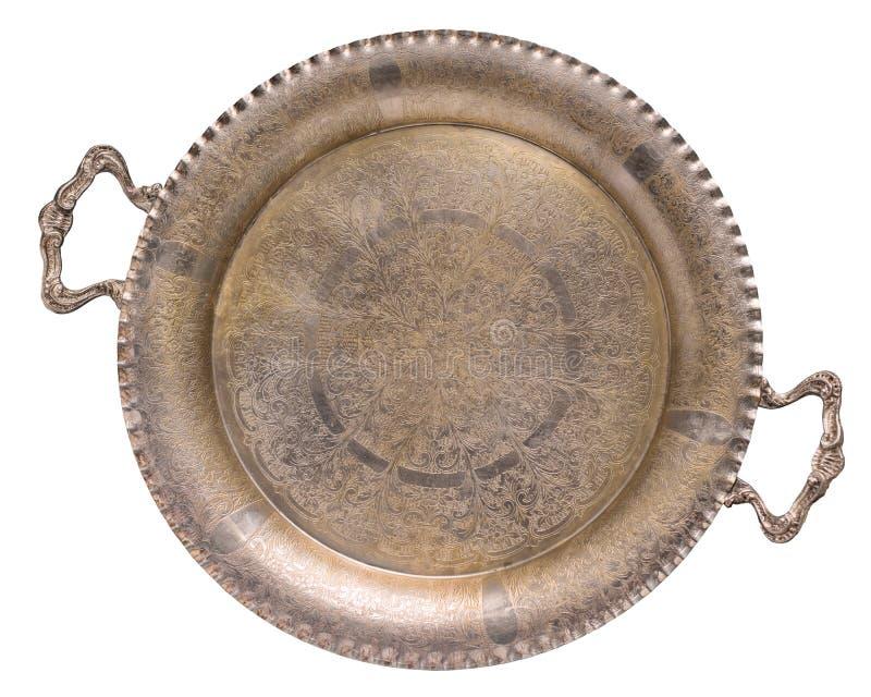 Поднос tracery пустого старого антиквариата серебряный позолоченный изолированный на белой предпосылке ретро тип стоковое изображение