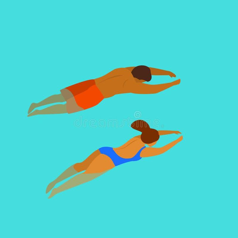 Подныривание заплывания человека и женщины в взгляде задней стороны бассейна сверху иллюстрация вектора