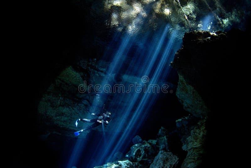 Подныривание пещеры Cenotes в Мексике стоковое фото