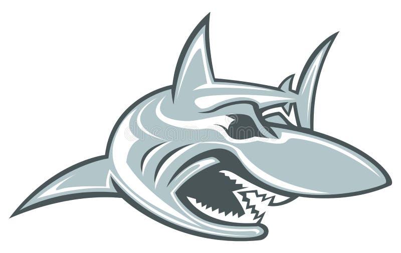 Подныривание эмблемы спорта хищника талисмана вектора логотипа спорта акулы акватическое иллюстрация вектора