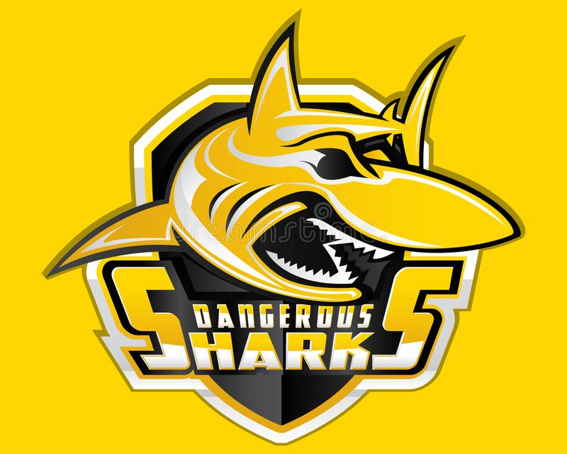 Подныривание эмблемы спорта хищника талисмана вектора логотипа спорта экрана акулы акватическое бесплатная иллюстрация