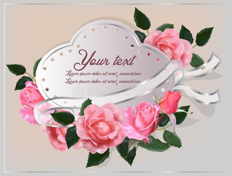 Поднял мягкий розовый цвет на карточке иллюстрация штока