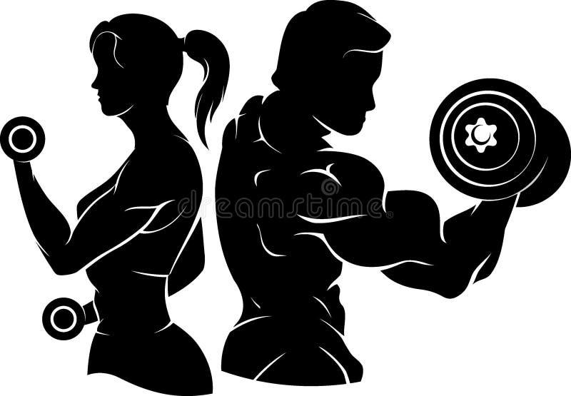 Поднятие тяжестей и здоровый силуэт фитнеса иллюстрация вектора