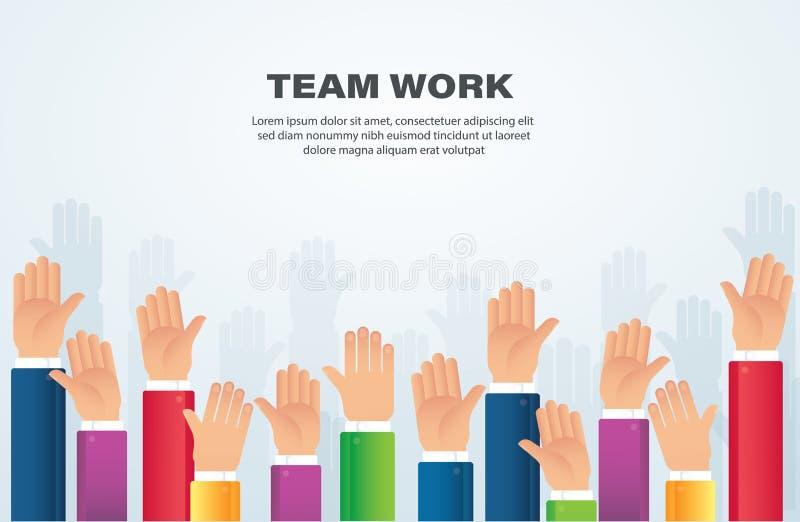 Поднятые руки концепция работы команды иллюстрация eps10 вектора предпосылки иллюстрация штока