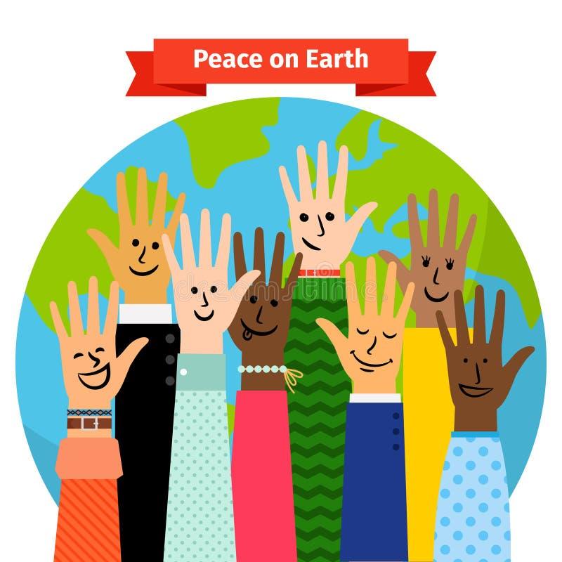 Поднятые руки людей концепции мира иллюстрация штока