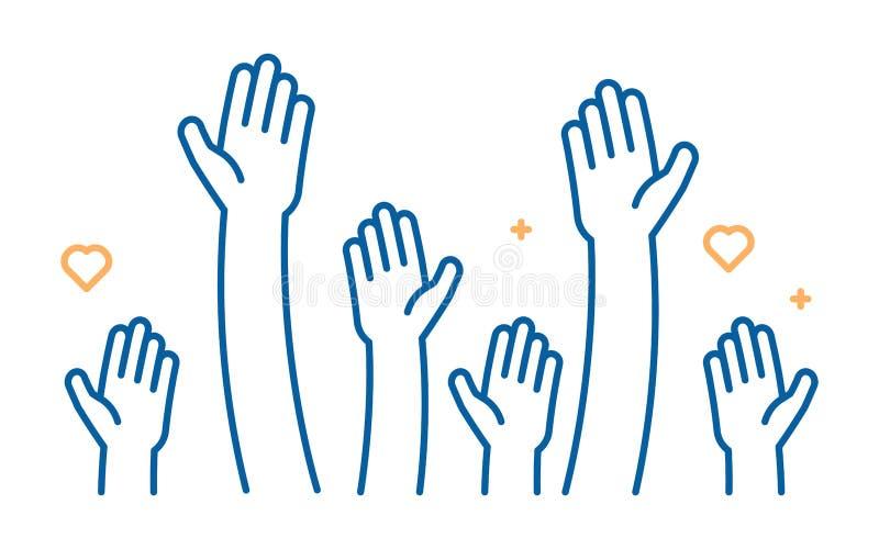 Поднятый значок вектора рук помощи Иллюстрация для волонтера и работа призрения в плоском стиле с оружиями и геометрическими элем иллюстрация вектора