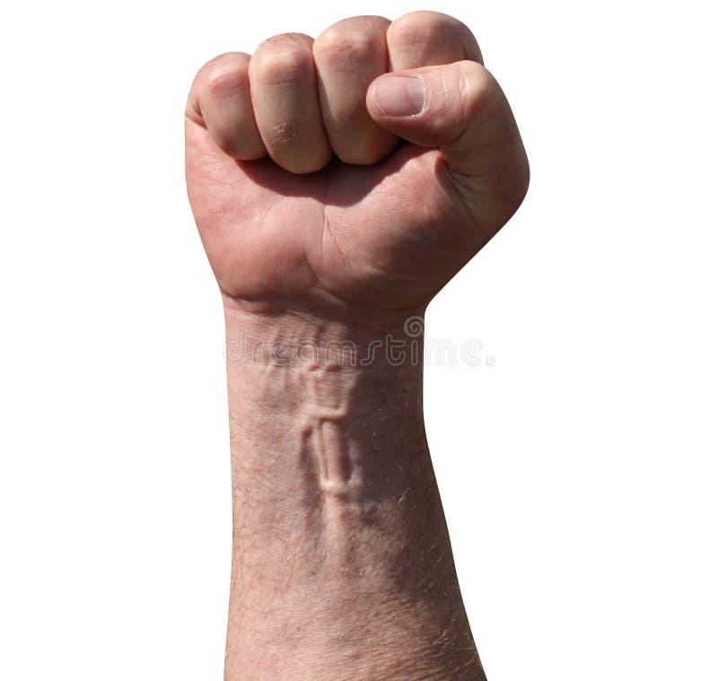 Поднятый сжатый кулак взрослого мужчины в воздухе как угроза боя r Социализм, коммунизм, revolut стоковые изображения rf