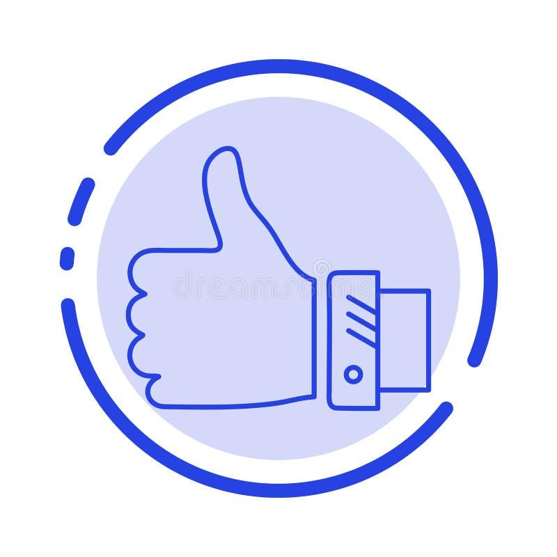 Подобие, дело, палец, рука, решение, линия значок голубой пунктирной линии больших пальцев руки иллюстрация вектора