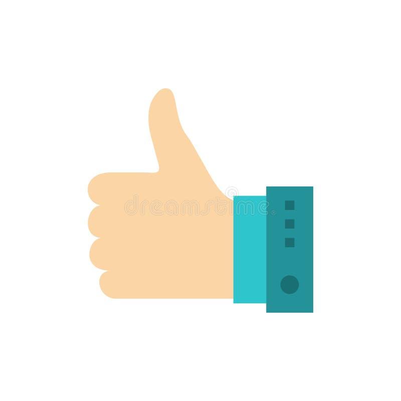 Подобие, палец, жест, рука, большие пальцы руки, вверх, да плоский значок цвета Шаблон знамени значка вектора иллюстрация штока
