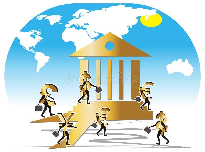 подобие currencys банка проиллюстрированное работниками иллюстрация вектора