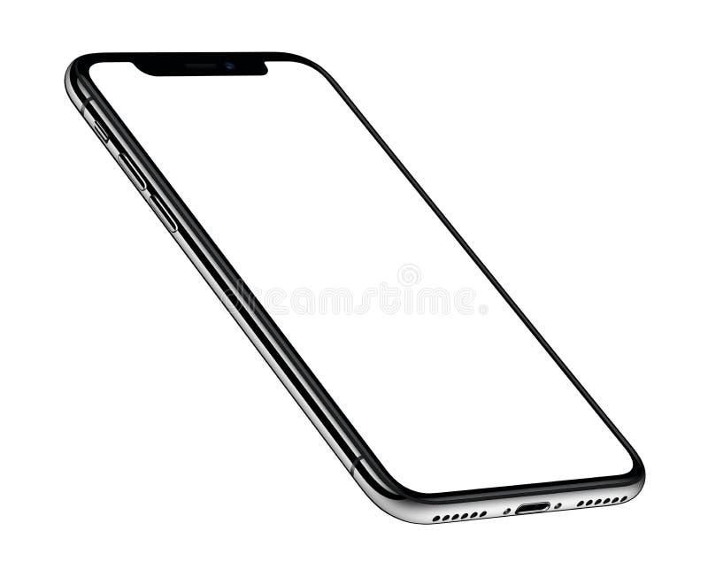 Подобная взгляда перспективы равновеликая к вращанной лицевой стороне CW модель-макета smartphone iPhone x бесплатная иллюстрация