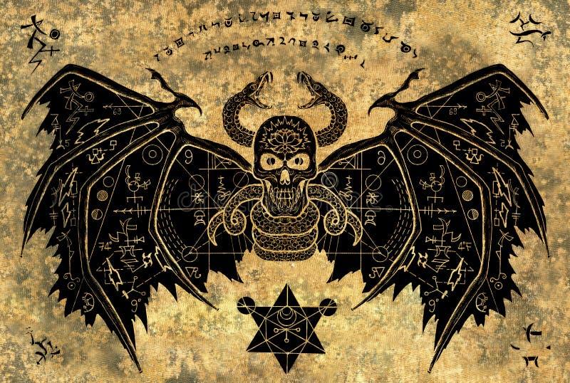Подогнали демон с мистическими символами на предпосылке бумаги grunge иллюстрация вектора