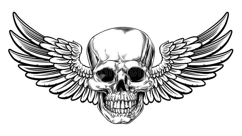 Подогнали стиль черепа винтажным вытравленный Woodcut иллюстрация вектора