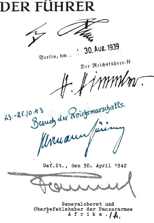 Подписи Гитлер, Himmler, Goering и Rommel бесплатная иллюстрация