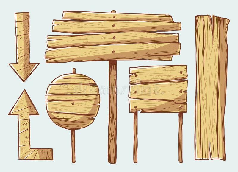 подписывает деревянное иллюстрация вектора