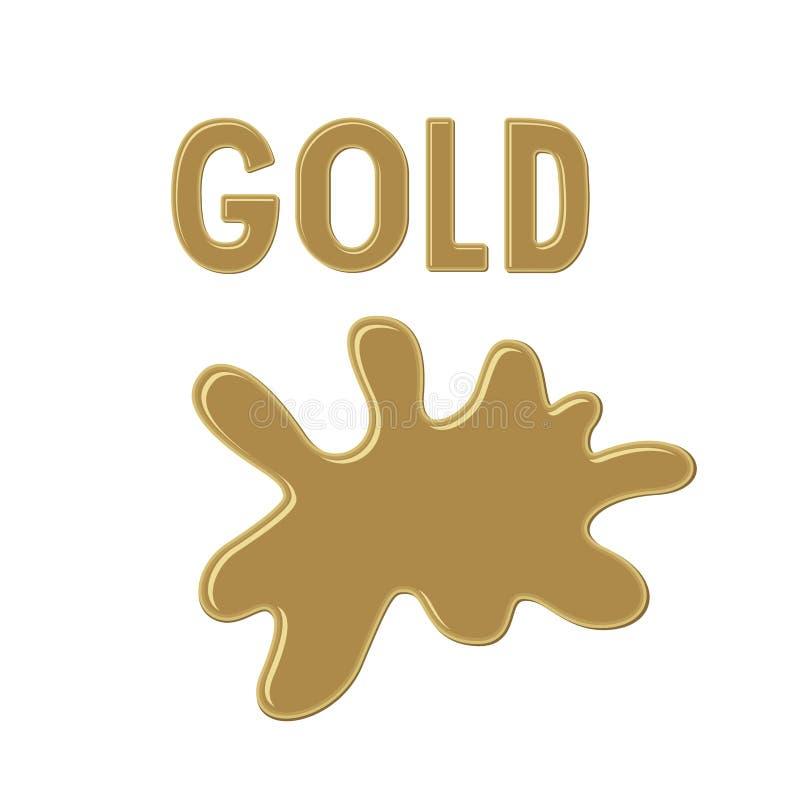 Подпишите ` ЗОЛОТА ` и помарку краски золота на белой предпосылке Падение чернил цвета alien кот шаржа избегает вектор крыши иллю иллюстрация штока