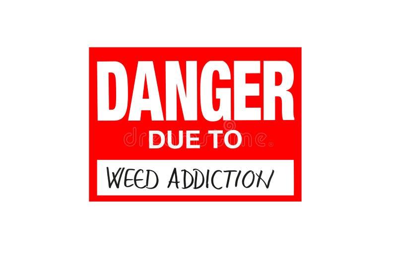 Подпишите опасность должную к наркомании засорителя изолированной на белизне стоковая фотография rf