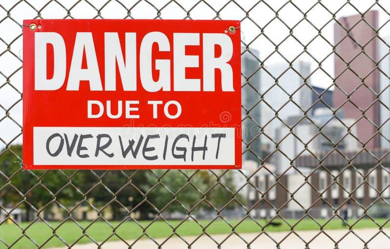 Подпишите опасность должную к полной смертной казни через повешение на загородке стоковое изображение