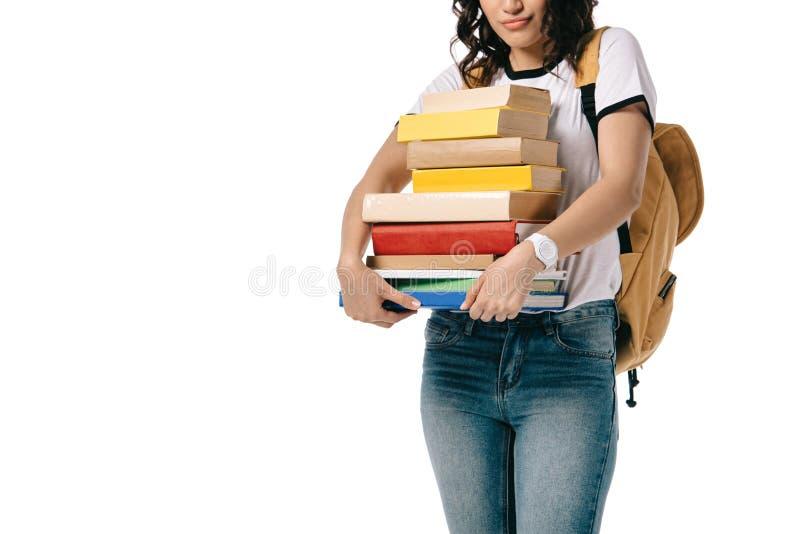 подрезанное изображение Афро-американского предназначенного для подростков стога удерживания студента книг стоковые изображения rf
