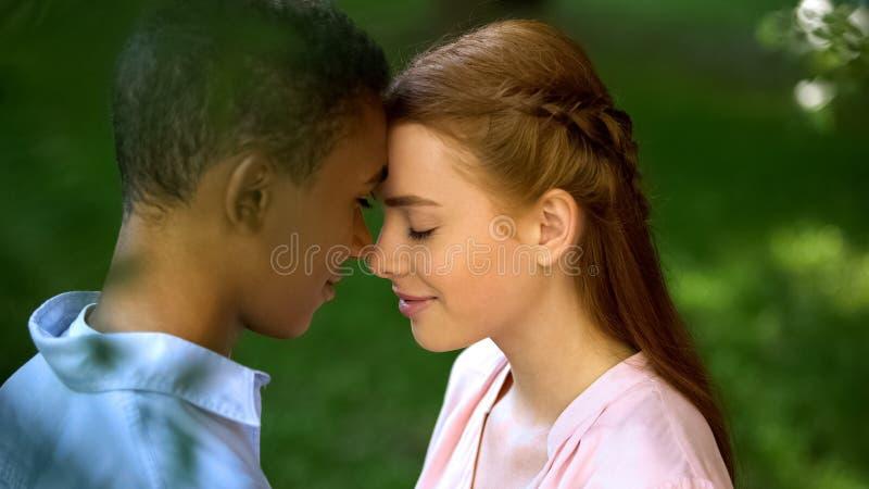 Подростки многорасовых пар трогают лоб в парке, доверяют друг другу, любят стоковая фотография
