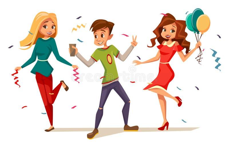 Подростки танцуя на иллюстрации вектора партии характеров детей мальчиков и девушек шаржа празднуя день рождения или бесплатная иллюстрация