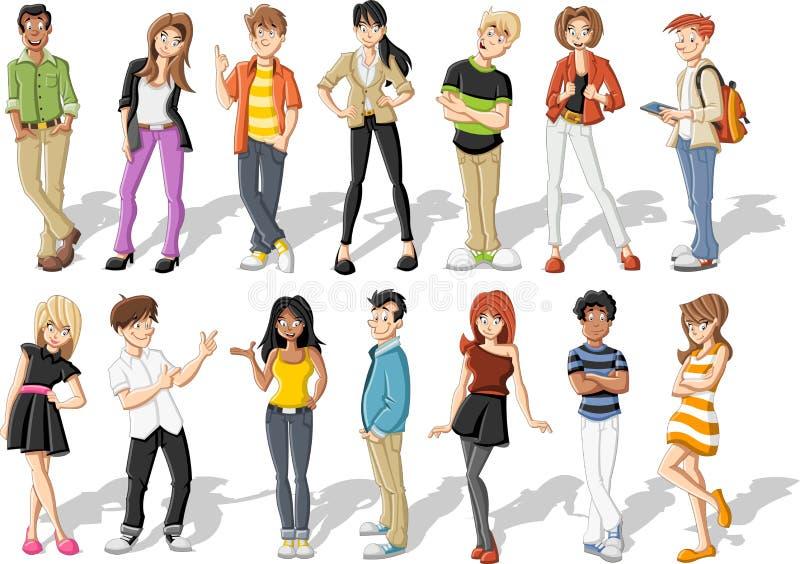 Подростки шаржа иллюстрация штока