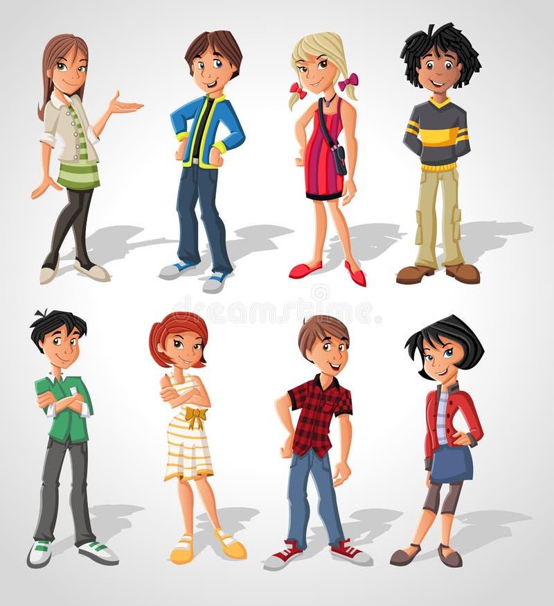 подростки иллюстрация вектора