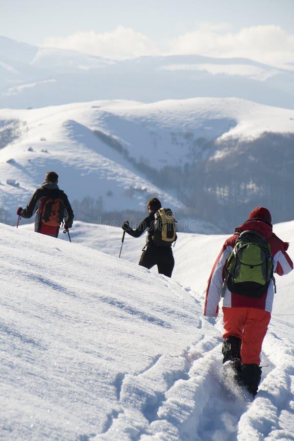 Подростки hiking в зиме стоковое фото rf