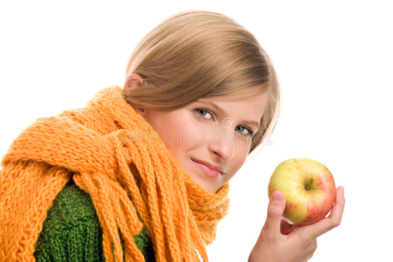 подростковое девушки яблока зрелое стоковое фото rf
