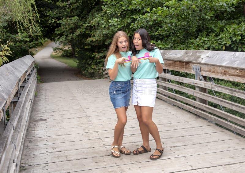 Подростковые кузены представляя на деревянном мосте на семейном отдыхе в дендропарке парка Вашингтона, Сиэтл, Вашингтоне стоковые фото