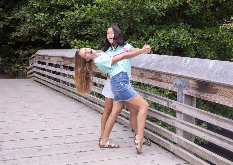 Подростковые кузены представляя на деревянном мосте на семейном отдыхе в дендропарке парка Вашингтона, Сиэтл, Вашингтоне стоковое изображение rf