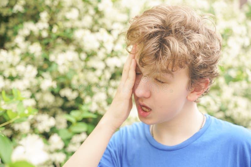 Подросток с аллергиями стоя в голубой футболке среди кустов жасмина и страдает от плохого здоровья стоковые фото