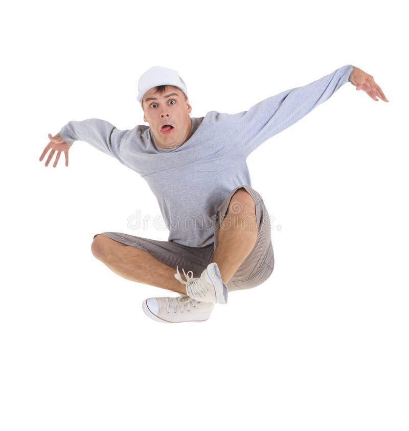 подросток танцы breakdance действия стоковое фото