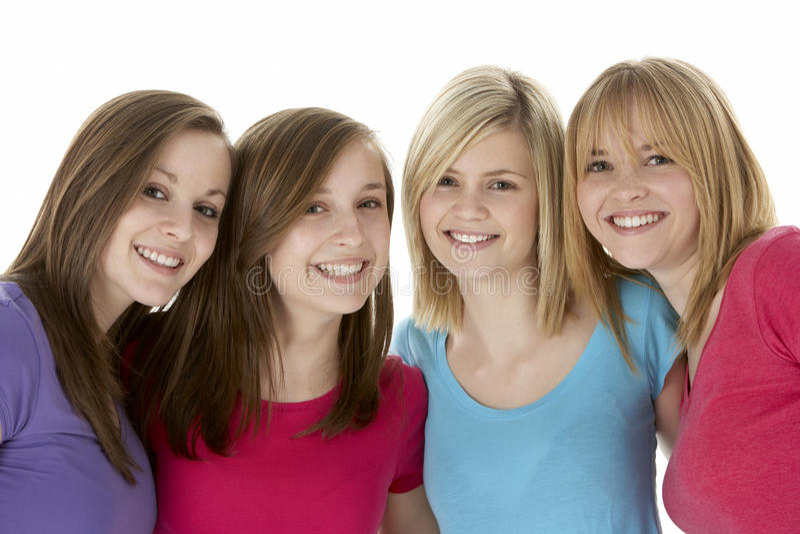 подруги собирают подростковое стоковое изображение rf