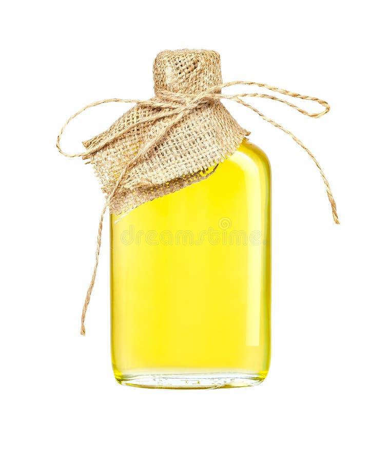 Подсолнечное масло в произведенной стеклянной бутылке изолированной на белой предпосылке с путем клиппирования стоковое фото rf